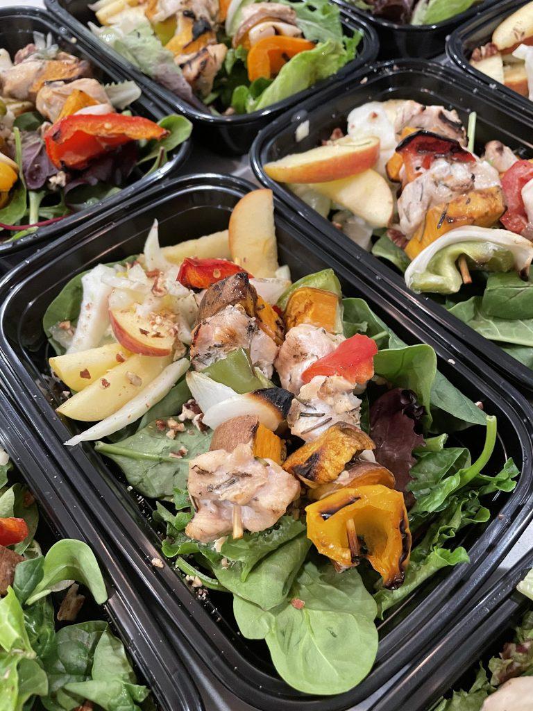 Chicken & Sweet Potato Kabobs with Apple Fennel Salad